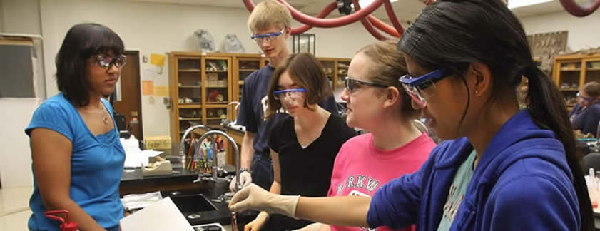Picture of students and teacher working in a lab