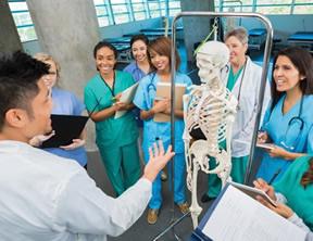 Nursing instructor teaching nursing students