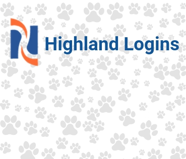 Highland Logins on paw prints with HCC logo