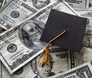 Image of money and a graduation cap